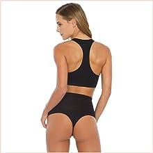 Modelador calcinha cintura alta fio dental. Sutiã modelo top com extra sustentação e costas nadador.