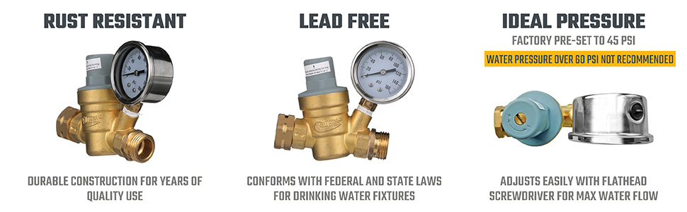 Rust resistant, lead free, ideal pressure