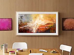 The Frame in a dining room with artwork from the Art Store