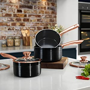 Tower Linear Saucepan Set With Easy Clean Non Stick