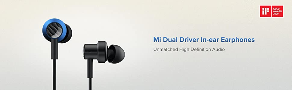 Mi Dual Driver in-Ear Earphones with Mic and Tangle-Free Cable