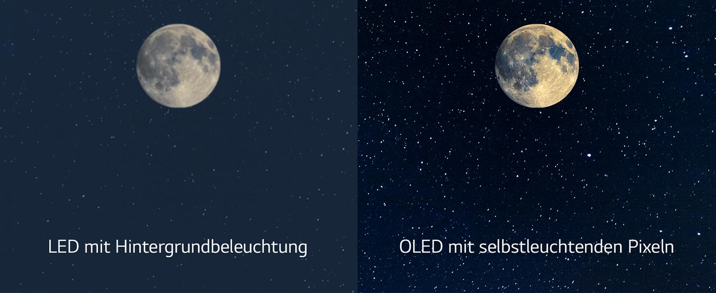 Kontrastreicher Zeitraffer des aufgehenden Mondes am Nachthimmel, linke Bildhälfte LED rechts OLED