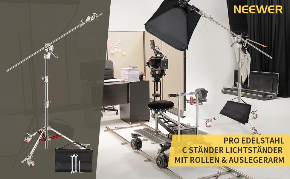 Neewer Pro 100 Edelstahl C Ständer Lichtständer Mit Kamera