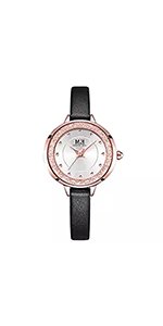 ... Women Mini Three-Hand Black Leather Watch ...