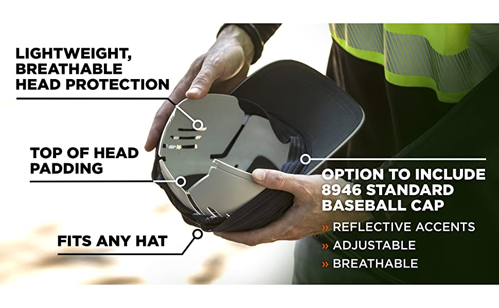 lightweight head protection, top of head padding, fits any hat. option to include 8946 baseball cap