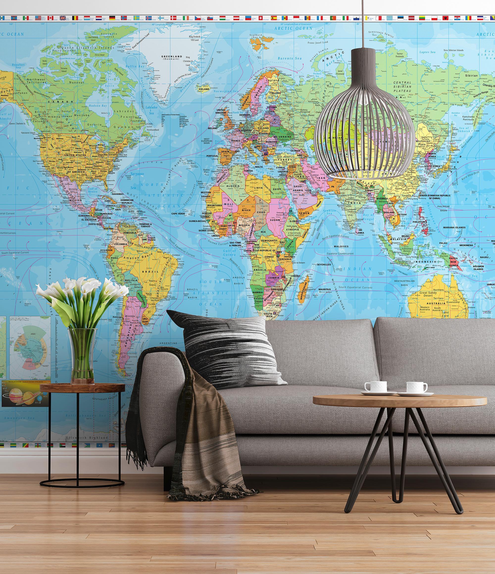 Sunny Decor Photo Mural U0027World Mapu0027, 1 Piece, Multicoloured, SD055