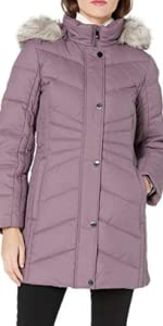 Anne Klein Women's down puffer coat with faux fur trimmed hood