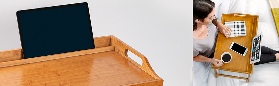 rossie home, bed tray, media slot, tablet holder, bamboo tray, home decor, work from home
