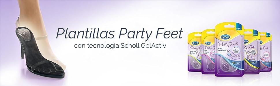 Scholl Plantillas Party Feet Almohadillas Talones con Tecnología Gel Activ - 1 Par