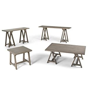 Simpli home sawhorse solid wood wide console for Wide sofa table