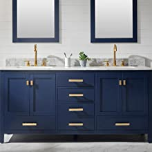 Luca Kitchen Bath Lc72pbw Tuscan 72 Double Bathroom Vanity Set In Midnight Blue With Carrara Marble Top And Sink