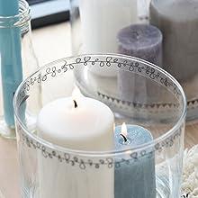 Décoration photophore et vase stickers transparents