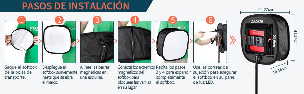 Bewinner 41.5 16cm Luz LED Softbox Difusor Plegable Panel de luz LED Plegable Softbox Studio Shooting//Camera Video Shooting Softbox Bolsa de Transporte//Correa Adjunto 41.5