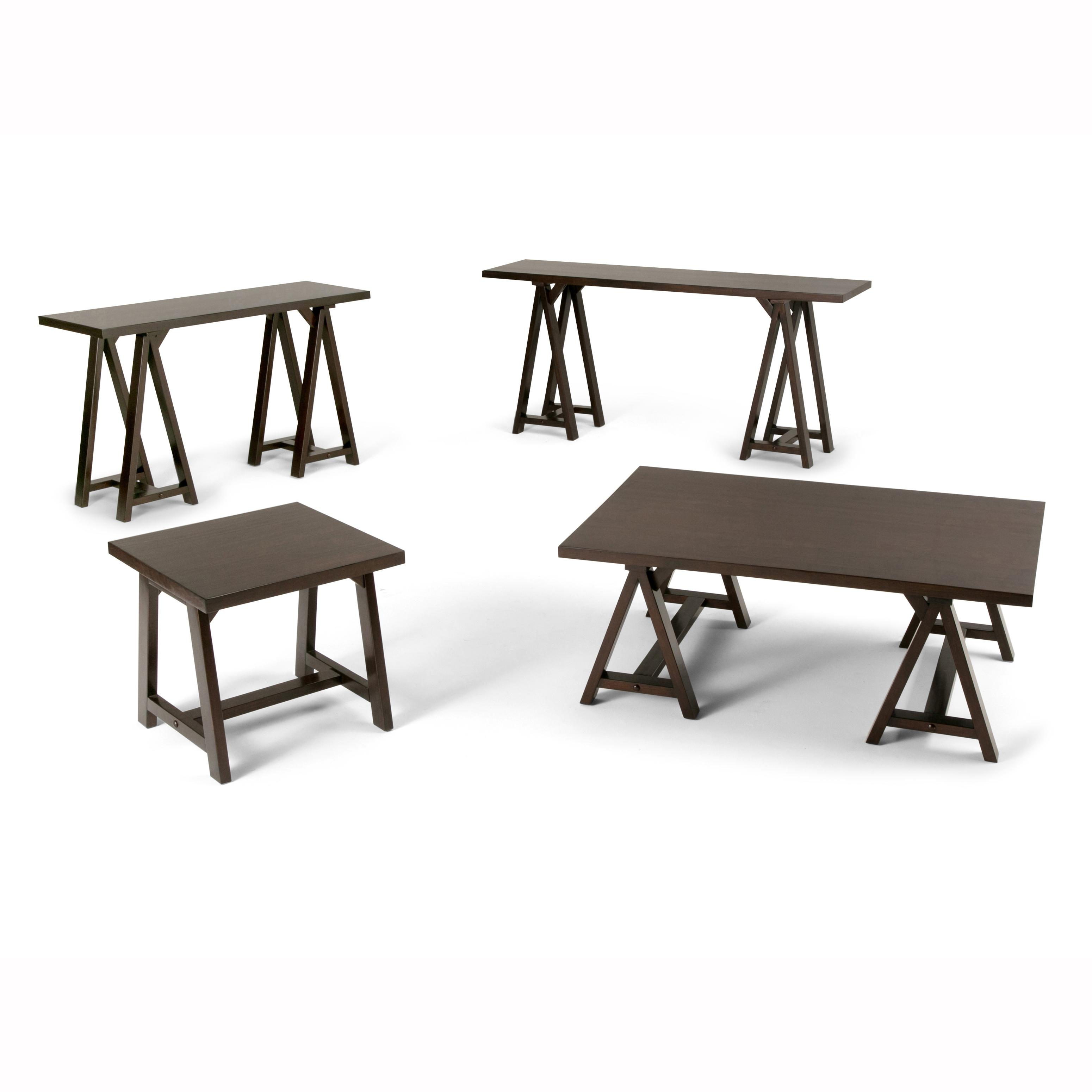 Simpli home 3axcsaw 03w br sawhorse wide console sofa for Wide sofa table