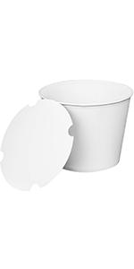 Karat  130 oz White  Food Buckets With Paper Lids