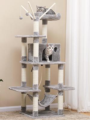 FEANDREA Árbol para Gatos Rascador con nidos Hamaca Plataformas Bolas de Juego 154 cm Colores Opcionales Gris Claro PCT86W: Amazon.es: Productos para mascotas
