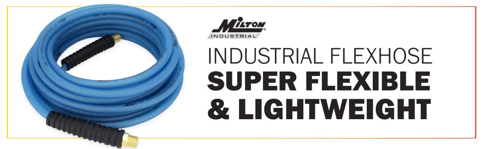 "200 PSI x 1//4/"" ID Blue Milton FLEX HOSE Reinforced Polyurethane Air Hose 50 ft Lightweight Hybrid Air Compressor Hose w// /¼/"" MNPT brass fitting 1623-2 Bend Restrictor Cold Weather Flexible"
