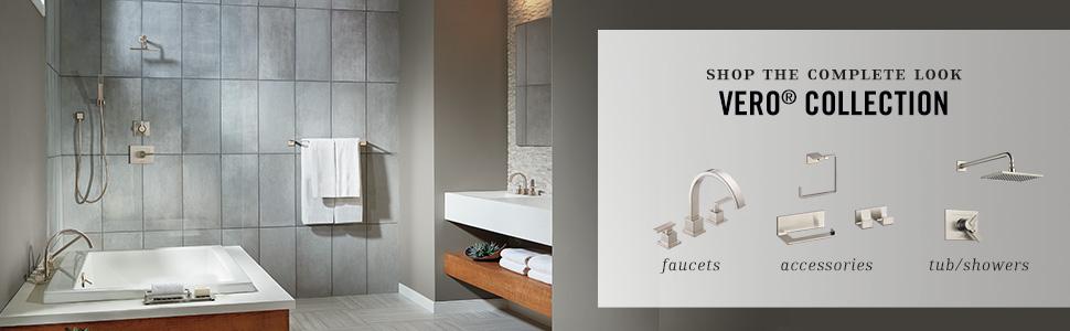 delta vero bathroom accessories shower faucet trim kit robe hook toilet paper holder towel ring