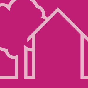 drawing of house and trees, pink background