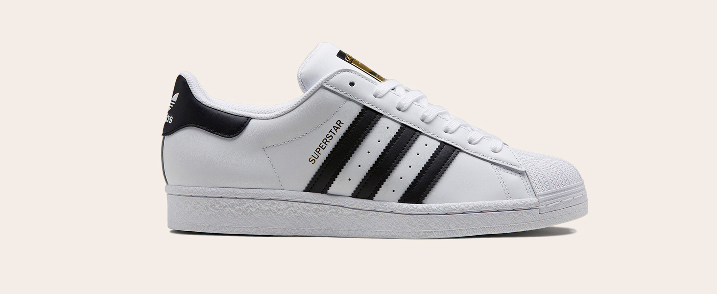 Superstar shoe in white with black stripes