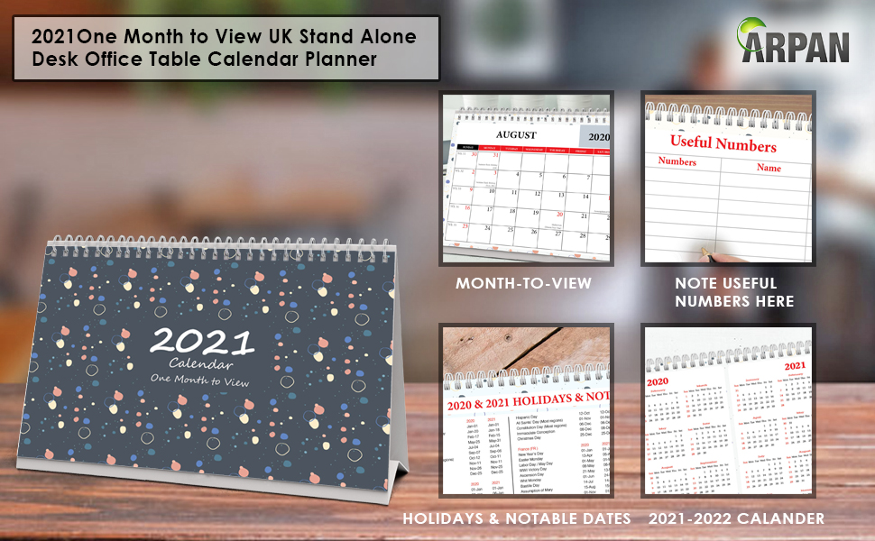 2021 One Month To View Uk Stand Alone Desk Office Table Calendar School Year Planner Runs From 1st Aug 2020 To Dec 2021 By Arpan Amazon Co Uk Office Products