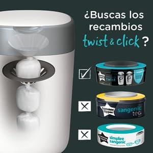 8 Piezas Recambios contenedor de pa/ñales compatible con Tomme Tippe Tec y Twist /& Click