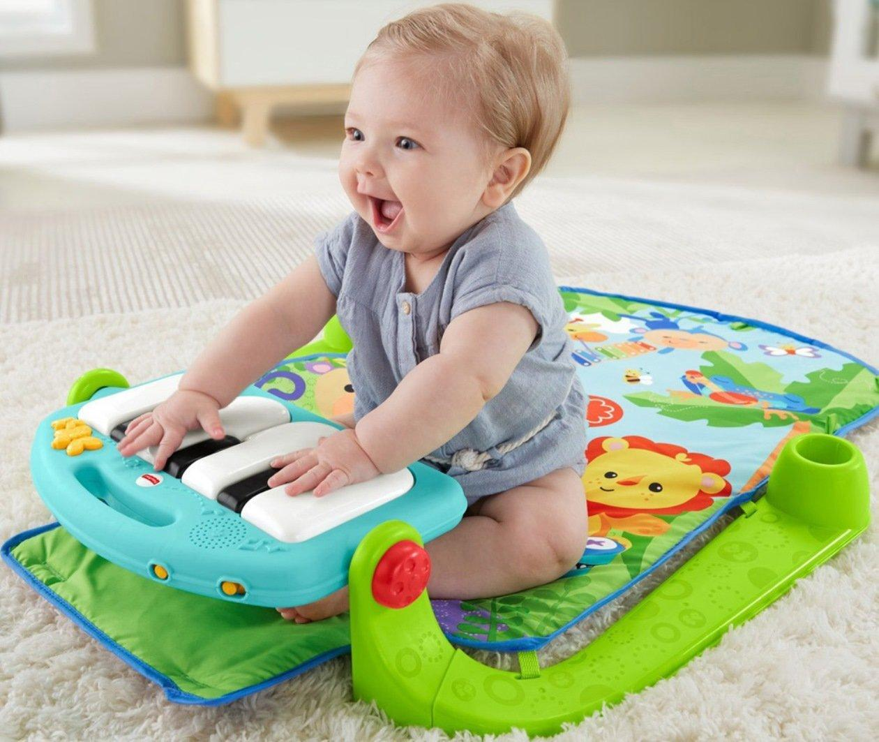Amazon.com : Fisher-Price Kick & Play Piano Gym, Blue/Green : Baby Musical Toys : Baby