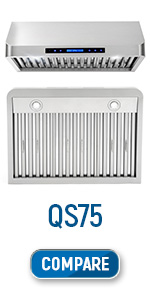 cos-qs75, under cabinet, range hood, stainless steel, digital timer, lcd screen, led lights, 30 inch