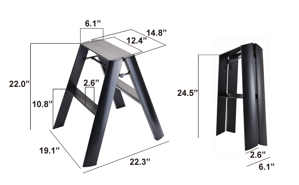 Lucano Step Stool Ladder 2 step stable sturdy modern simple home office kitchen closet size FOOD52