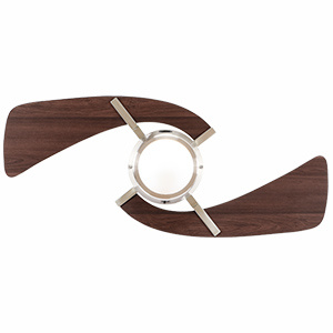 Unique 2 blade brushed nickel fan with coordinating blade finish and LED light fixture.