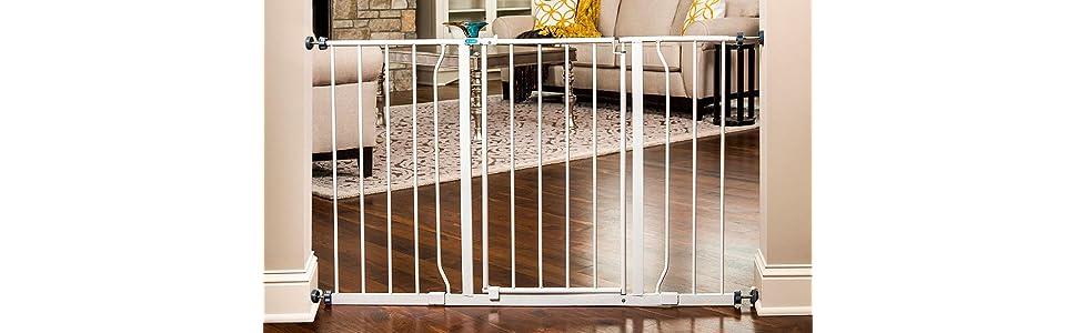regalo easy open 50 inch wide baby gate pressure mount