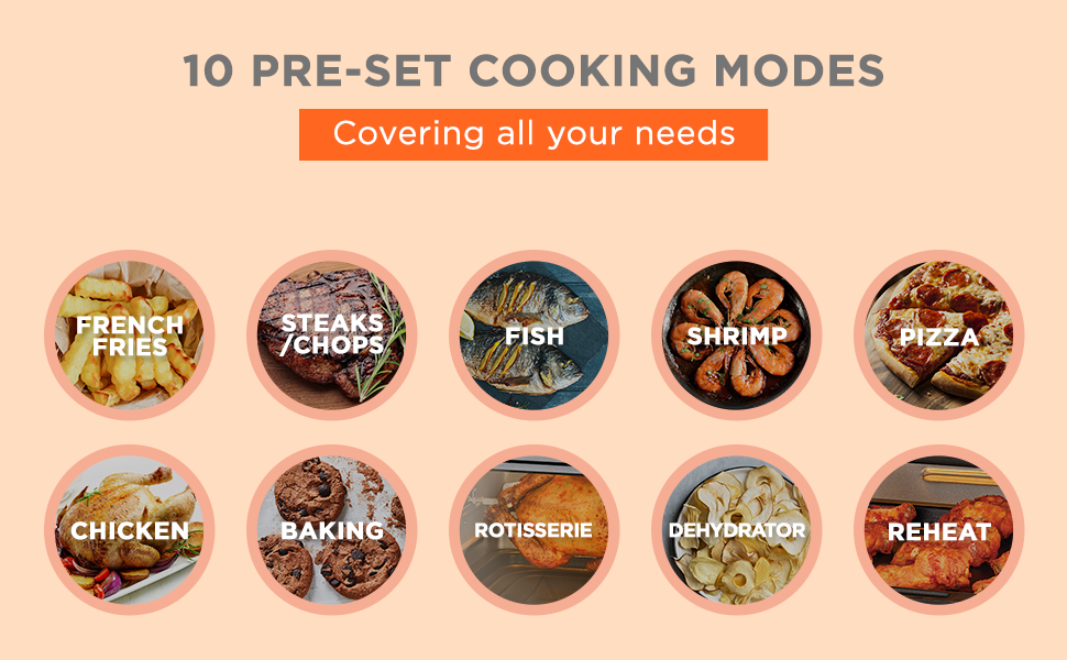 10 pre-set cooking modes
