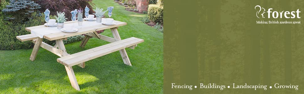 Forest Garden Forest Rectangular Picnic Table Pressure Treated Small Amazon Co Uk Garden Outdoors