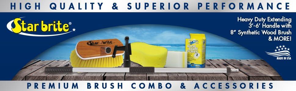 Star brite premium brush and heavy duty handle combo with bonus extras