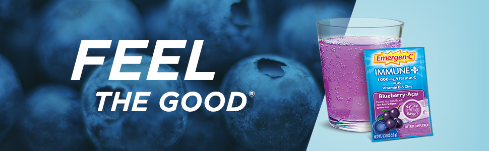 Emergen-C, EmergenC, Immune Plus, Vitamin C, Immune Support, Drink Mix, Powder, Blueberry-Acai