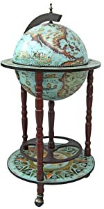 home décor alcohol serving replica antique globe bar cart blue cocktail table drink cabinet