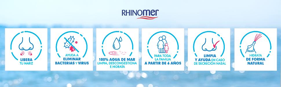 Rhinomer - Spray Nasal de Agua de Mar - Fuerza Media 3 - Para Adultos y Niños mayores de 6 años - 135 ml: Amazon.es: Salud y cuidado personal