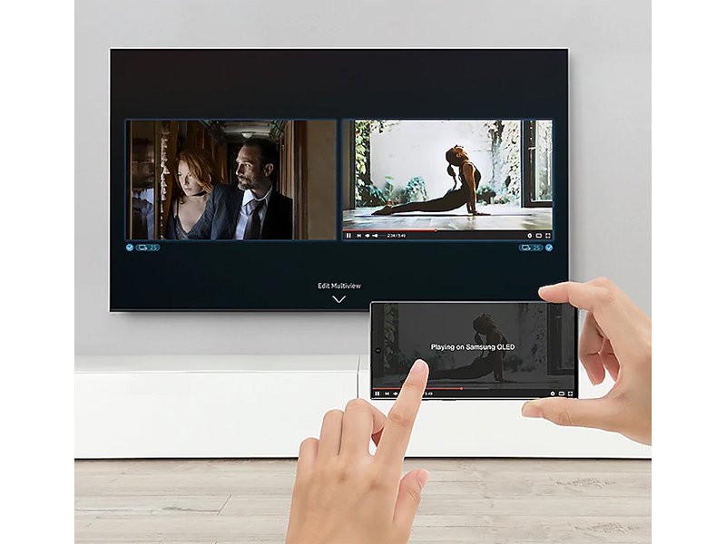Content being streamed from a smartphone to the QLED TV