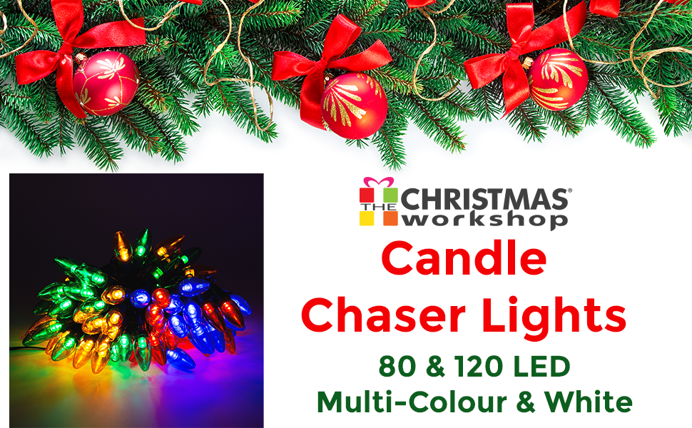 80 LED Outdoor Candle Chaser White Ultra Bright Christmas String Garden Lights