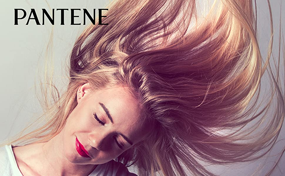 pantene smooth and sleek collection blonde woman hair toss model conditioner conditioning