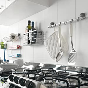 ordenación cocina, organizadores cocina, estante, barra colgar, ganchos, sin taladros, eureka