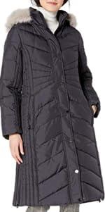 Anne Klein Long Down Coat with Faux Fur Hood