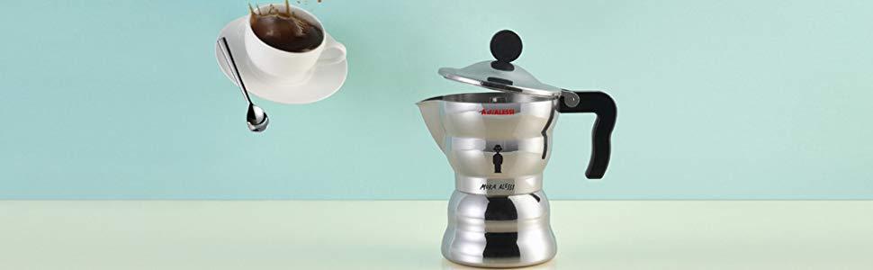 Alessi AAM33/6 Moka - Cafetera italiana en aluminio, mango y ...