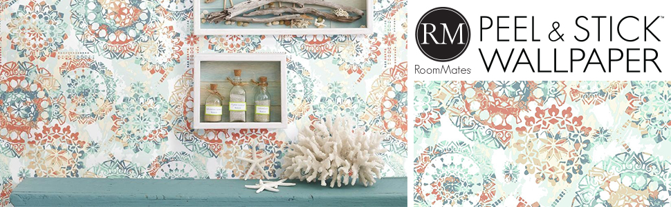 Amazon Com Roommates Rmk9126wp Bohemian Orange Blue Peel Stick Wallpaper 20 5 X 16 5 Feet Home Improvement