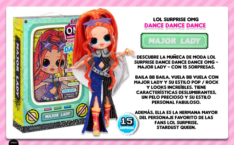 LOL Surprise OMG Dance Dance Dance Muñeca Major Lady con 15 sorpresas,Ropa de Marca, Luz Negra Mágica,Accesorios de Moda,Zapatos, Soporte para Muñecas ...