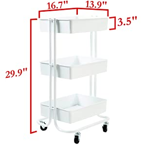 White 16.7 W Seville Classics 3-Tier Rolling Steel Storage Bin Utility Kitchen Trolley with Wheels Cart