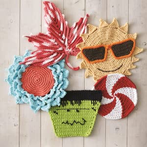 Sun, halloween themed dishclothes knit and crochetted with lily sugar n cream yan