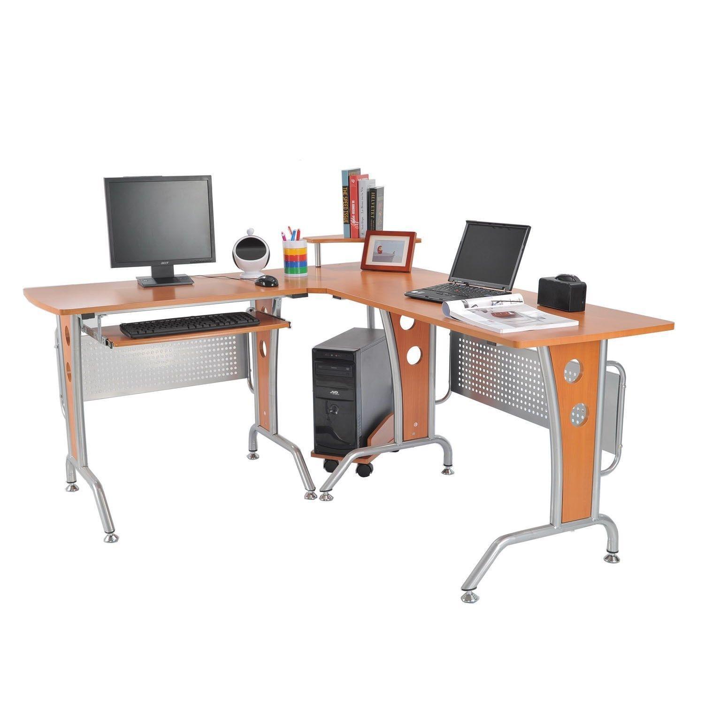 homcom 61 in modern l shaped office. Black Bedroom Furniture Sets. Home Design Ideas