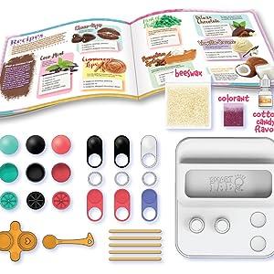 Lip Balm Components, Complete DIY Lip Balm Kit, Unique Lip Balm container,Pure Beeswax,Activity Book