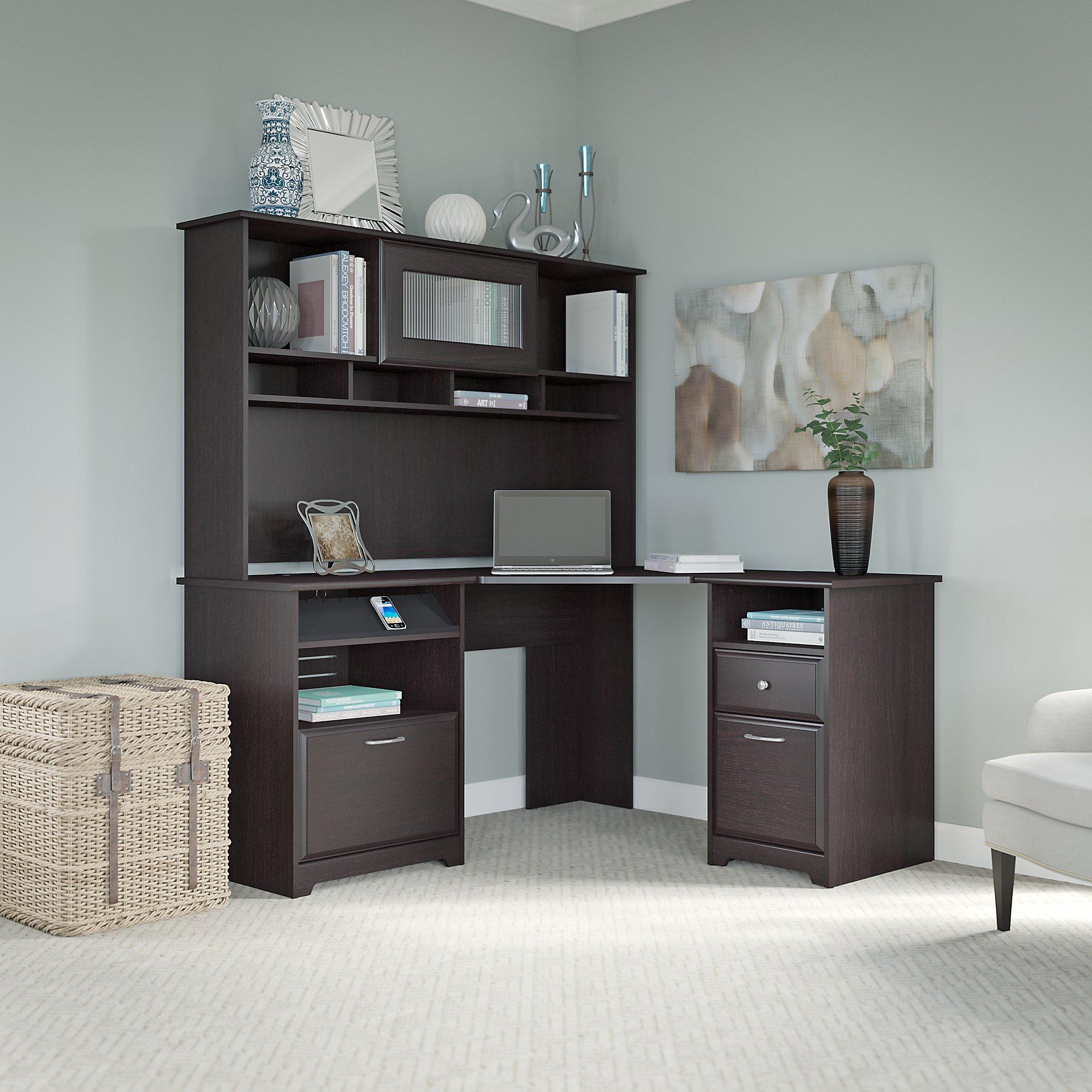 Cabot corner desk hutch and 2 drawer file - Corner desks for home ...